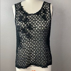 Black 3-D Floral Lace Tank by GAP